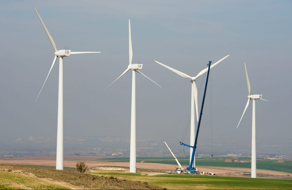 cranes and wind turbines